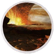 A Scene On Jupiters Moon, Io, The Most Round Beach Towel