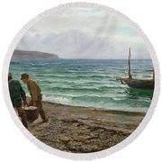 A Sea View Round Beach Towel by Colin Hunter