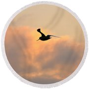 A Seagull Takes Flight Round Beach Towel