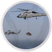 A Sh-60j Seahawk And A Mh-60s Round Beach Towel