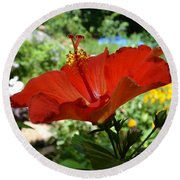 A Side Of Hibiscus Round Beach Towel