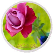 A Single Rose II Mother's Day Card Round Beach Towel