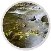 A Small Dam Of Golden Leaves  Round Beach Towel