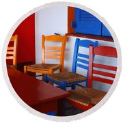 Colorful Table And Chairs Greece Round Beach Towel