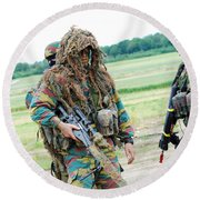 A Sniper Of The Belgian Army Together Round Beach Towel