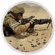 A Soldier Clears The Mk-48 Machine Gun Round Beach Towel
