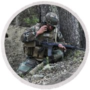 A Soldier Communicates His Position Round Beach Towel