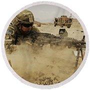 A Soldier Firing His Mk-48 Machine Gun Round Beach Towel