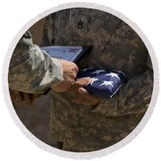A Soldier Is Presented The American Round Beach Towel
