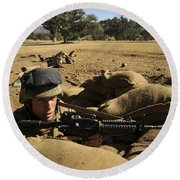 A Soldier Mans His Position At Fort Round Beach Towel