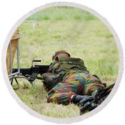 A Soldier Of The Belgian Army On Guard Round Beach Towel by Luc De Jaeger