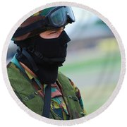 A Soldier Of The Special Forces Group Round Beach Towel