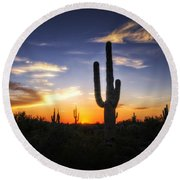 A Sonoran Sunset  Round Beach Towel