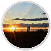 A Southwest Morning  Round Beach Towel