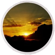 A Southwest Sunrise  Round Beach Towel