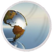 A Sphere Holding North And South Round Beach Towel