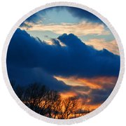 A Spring Sunset Round Beach Towel