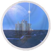 A Star Shines On Alien Architecture Round Beach Towel