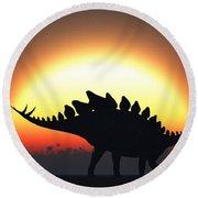A Stegosaurus Silhouetted Round Beach Towel
