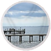 A Stormy Day On The Pamlico River Round Beach Towel