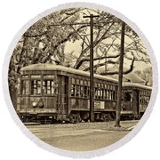 A Streetcar Named St. Charles Sepia Round Beach Towel