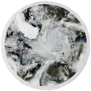 A Strong Storm Lingering In The Center Round Beach Towel