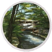 A Summer Walk Along The Creek  Round Beach Towel