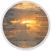 A Sunset A Poem - Victor Hugo Round Beach Towel