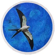 A Swallow And The Moon Round Beach Towel