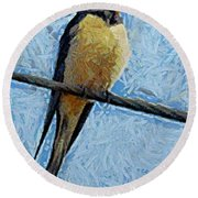 A Swallow On A Wire Round Beach Towel