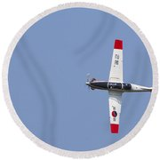 A T-50 Golden Eagle Aircraft In Flight Round Beach Towel