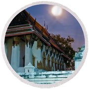 A Tempel In A Wat During A Full Moon Night  Round Beach Towel