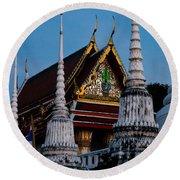 A Temple In A Wat Monestry In Tahiland Round Beach Towel
