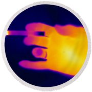 A Thermogram Of A Lit Cigarette Round Beach Towel by Ted Kinsman