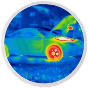 A Thermogram Of A Man Working On A Car Round Beach Towel