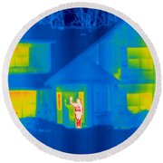 A Thermogram Of A Person Waving In House Round Beach Towel