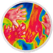 A Thermogram Of A Pile Of Human Hands Round Beach Towel