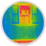 A Thermogram Of A Window Round Beach Towel