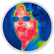 A Thermogram Of A Woman With Glasses Round Beach Towel