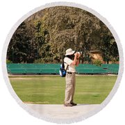A Tourist Using A High Powered Camera Inside The Red Court In New Delhi Round Beach Towel