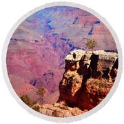 A Tree And The Canyon Round Beach Towel