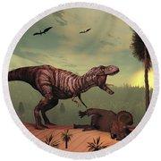 A Triceratops Falls Victim Round Beach Towel