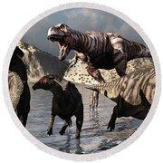 A Tyrannosaurus Rex Moves Round Beach Towel by Mark Stevenson