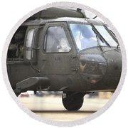 A Uh-60 Black Hawk Taxis Round Beach Towel