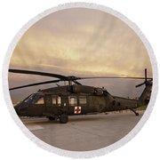 A Uh-60l Black Hawk Medevac Helicopter Round Beach Towel