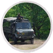 A Unimog Vehicle Of The Belgian Army Round Beach Towel by Luc De Jaeger