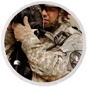 A U.s. Air Force Combat Cameraman Round Beach Towel by Stocktrek Images