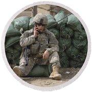 A U.s. Army Soldier Talks On A Radio Round Beach Towel