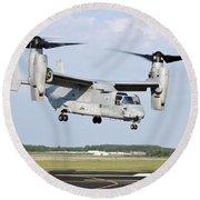 A U.s. Marine Corps Mv-22 Osprey Lifts Round Beach Towel