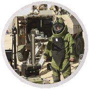 A U.s. Marine Dressed In A Bomb Suit Round Beach Towel